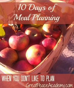 10 Days of Meal Planning When You Don't Like to Plan   Renée at Great Peace Academy