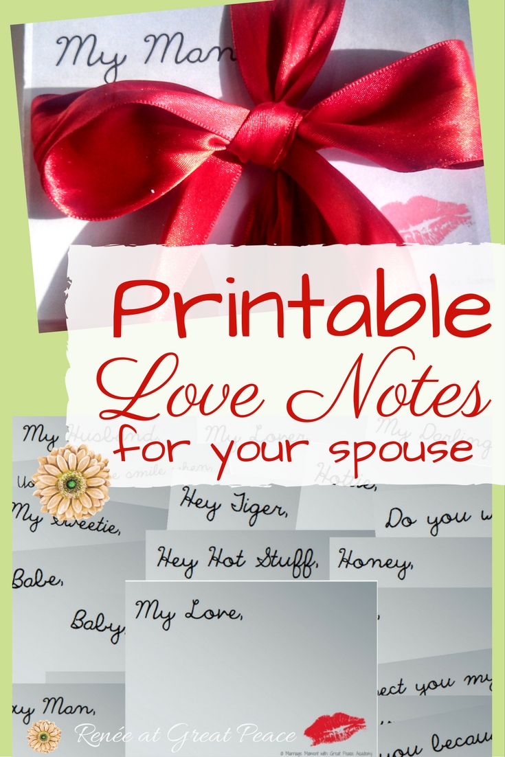 photo regarding Printable Love Notes identified as Printable Delight in Notes for Your Partner Renée at Excellent Rest