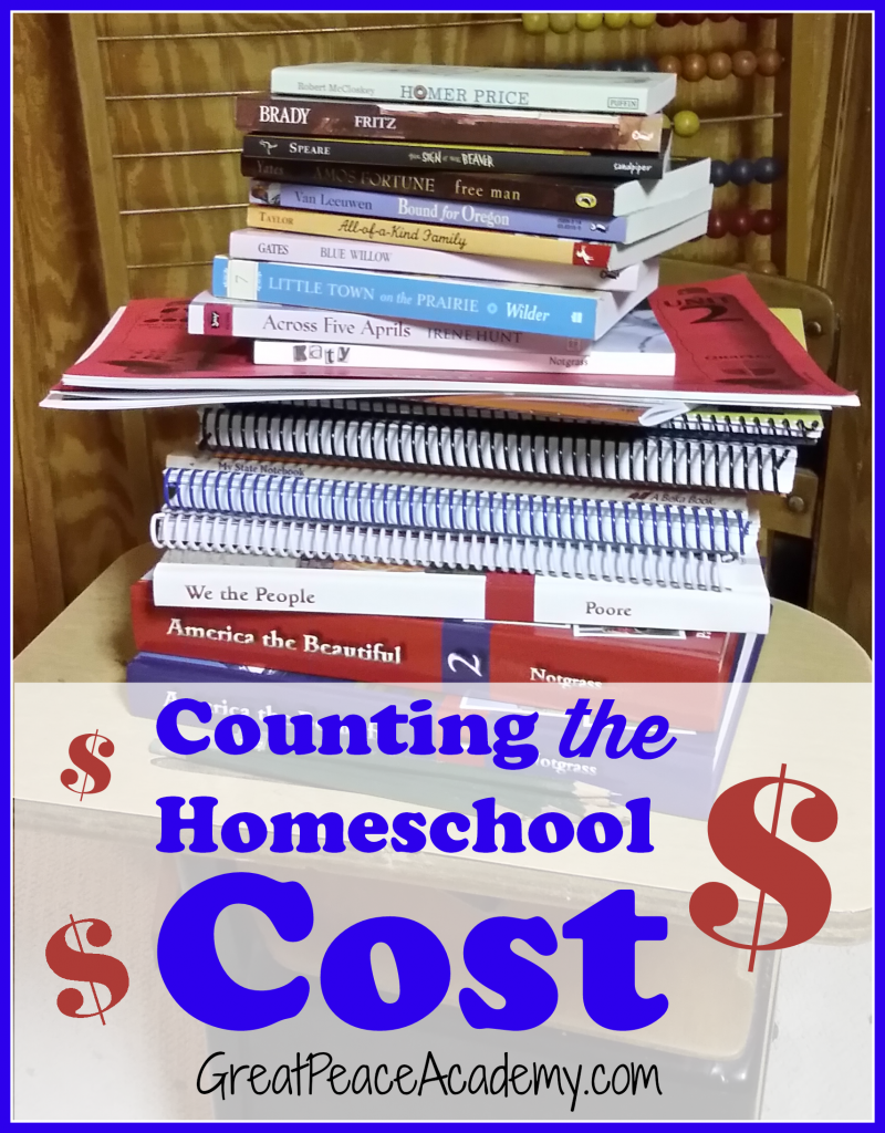 Counting the Homeschool Costs, an honest look at how much homeschooling costs at Great Peace Academy