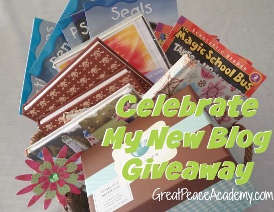 Celebrate the new blog at Great Peace Academy with a Giveaway, register to win, now.
