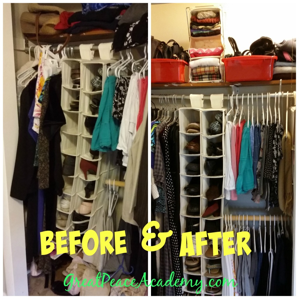 The Beofre and After of an Organized Closet via Renée at Great Peace Academy