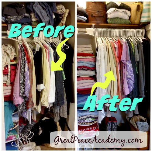 Before and After of an Organized Closets via Renée at Great Peace Academy