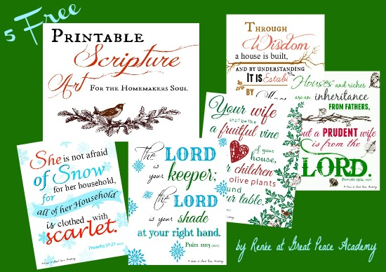 Free Printable Scripture Art for the Homemakers Soul by Renée at Great Peace Academy