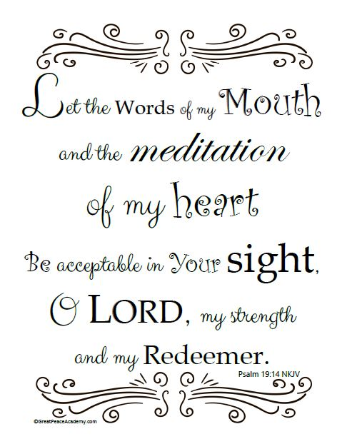 Printable Scripture Art Psalm 19:14 | Great Peace Academy