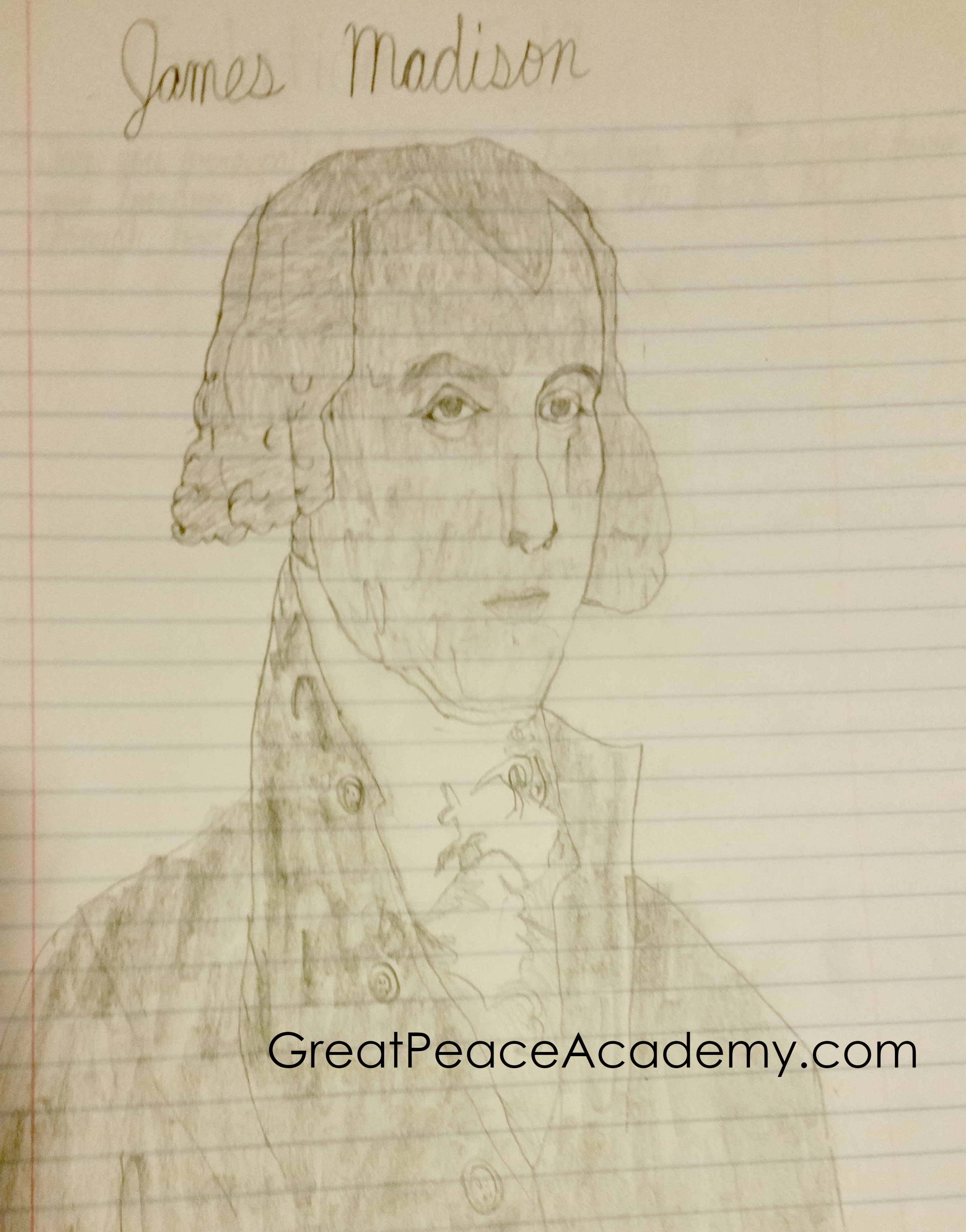 Sketch of James Madison by Jonathan Brown